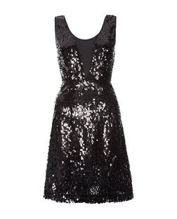 Vila Black Sequin Mesh Sleeveless Dress | New Look