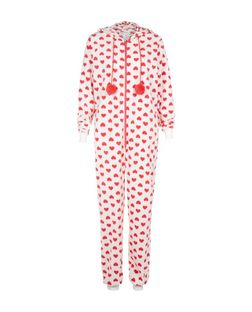 White Heart Print Onesie  | New Look