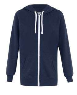 Tall Navy Basic Zip Up Hoodie  | New Look
