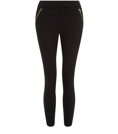 Petite Black Zip Front Slim Leg Trousers | New Look