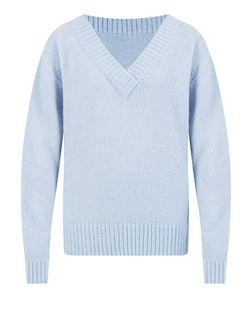 Pale Blue V Neck Jumper  | New Look