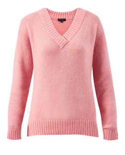 Pink V Neck Jumper | New Look