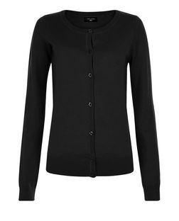 Tall Black Basic Crew Neck Cardigan | New Look