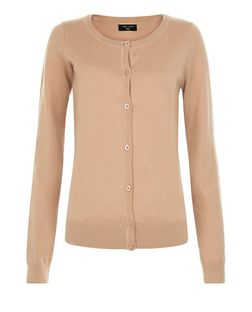 Tall Camel Basic Crew Neck Cardigan | New Look