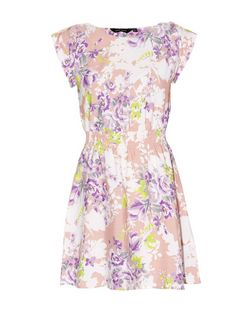 Pink Roll Up Sleeve Floral Print Skater Dress | New Look