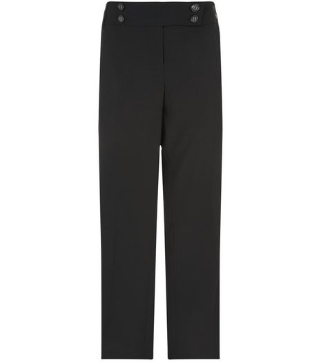Curves 32in Black Stretch Trousers | New Look