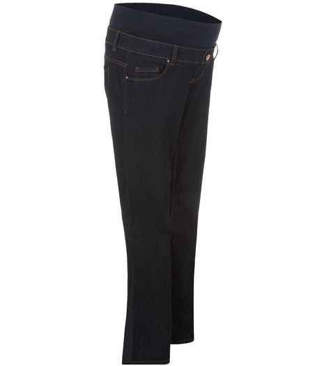 Maternity Navy Overbump Bootcut Jeans  | New Look