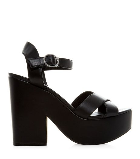 Black Chunky Cross Strap Heels | New Look