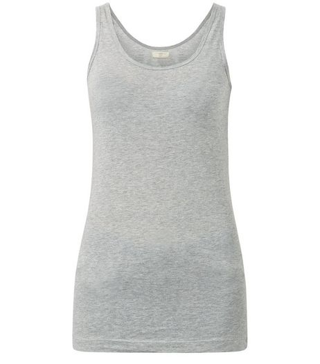 Dark Grey Cotton Scoop Neck Vest | New Look