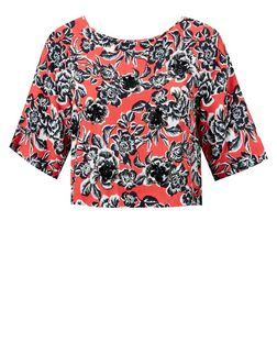 Black and Red Floral Print Wide Sleeve Shell Top | New Look