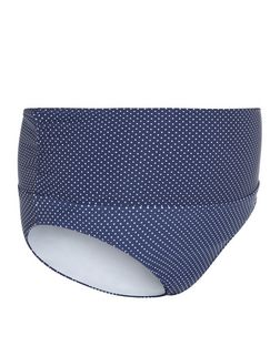 Maternity Blue Polka Dot Bikini Bottoms | New Look