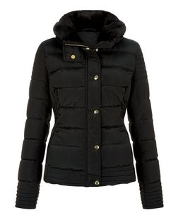 Black Faux Fur Collar Padded Jacket  | New Look