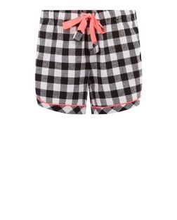 Monochrome and Neon Pink Trim Check Shorts | New Look