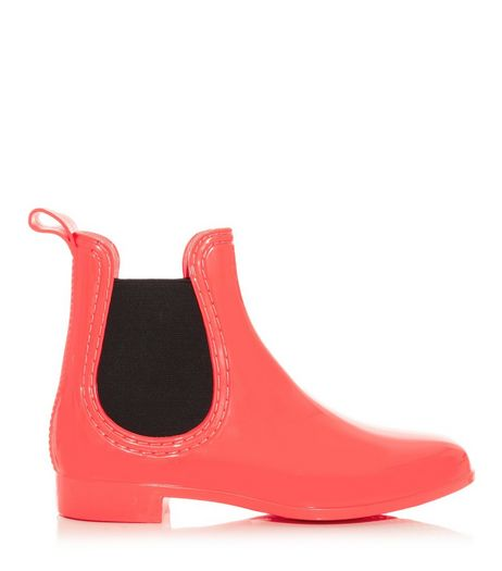 Coral and Black Chelsea Wellies | New Look