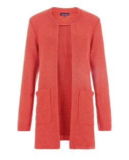 Coral Textured Collarless Coat | New Look
