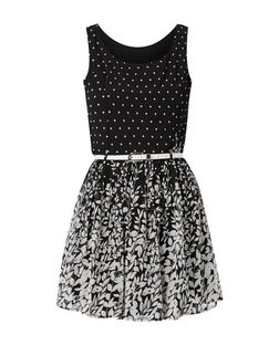 Parisian Black Polka Dot Contrast Skater Dress | New Look