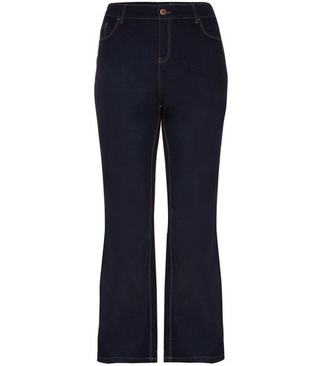 Curves Navy Bootcut Jeans  | New Look
