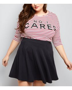 Curves Black Flounce Skater Skirt  | New Look