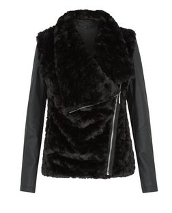Black Faux Fur Contrast Sleeves Jacket  | New Look
