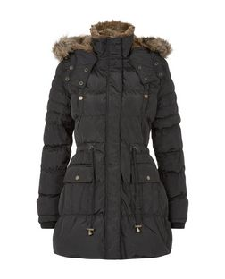 Parisian Black Quilted Faux Fur Trim Parka  | New Look