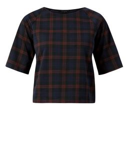 Red Check Boxy T-Shirt | New Look