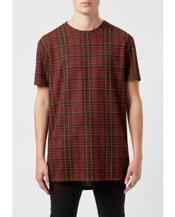 Red Check Longline T-Shirt  | New Look