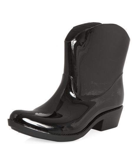 Black Patent Cowboy Wellies  | New Look