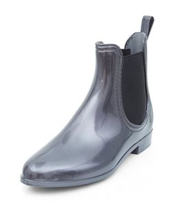 Pewter Chelsea Wellies  | New Look
