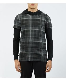 Dark Grey Check Neck T-Shirt  | New Look