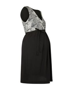 Mamalicious Black Animal Print Contrast Dress | New Look