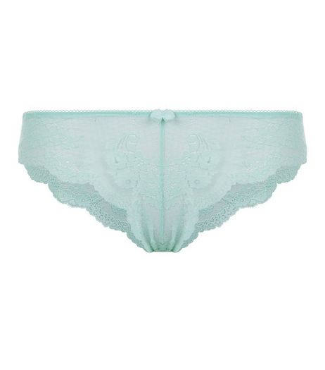 Mint Green Geo Lace Brazilian Briefs | New Look