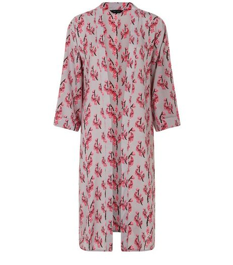 Light Purple Blossom Print Duster Kimono  | New Look