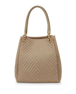Mink Quilted Contrast Tote Bag  | New Look