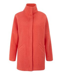 Coral Wool Mix  Funnel Neck Coat | New Look