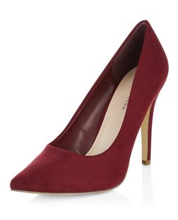 Dark Red Pointed Court Shoes | New Look