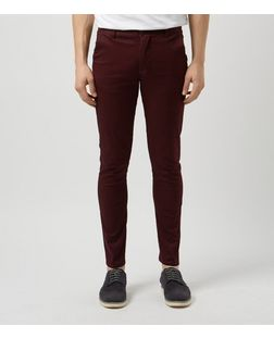 Dark Red Stretch Chinos  | New Look