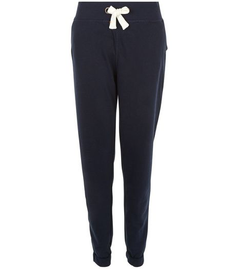 Tall Navy Plain Jersey Joggers  | New Look