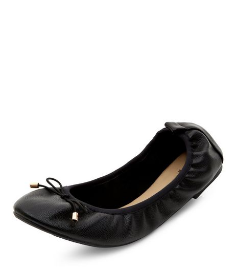 Wide Fit Black Elasticated Pumps  | New Look