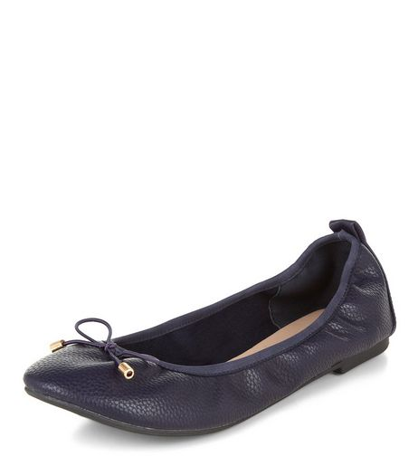 Wide Fit Navy Elasticated Pumps  | New Look