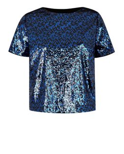 Navy Sequin T-Shirt  | New Look