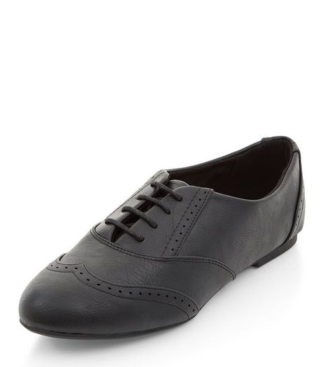 Teens Black Embossed Lace Up Brogues  | New Look