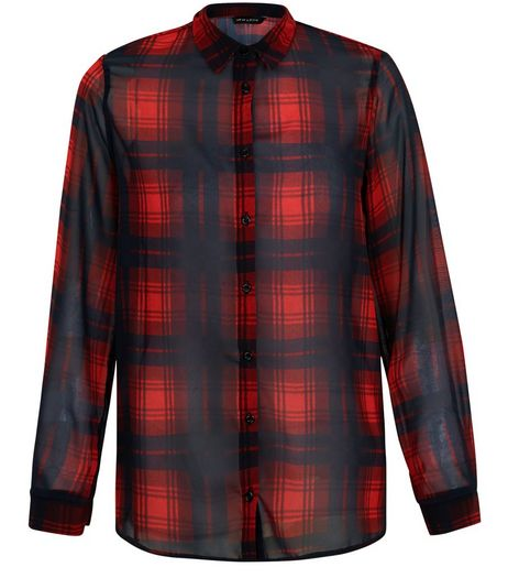 Red Chiffon Check Long Sleeve Shirt  | New Look