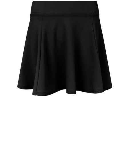 Teens Black High Waisted Skater Skirt  | New Look