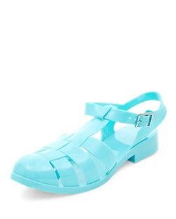 Mint Green Caged Jelly Shoes  | New Look