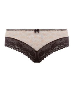 Black Contrast Daisy Lace Brazilian Briefs  | New Look