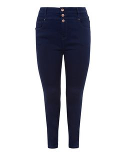 Plus Size Navy High Waisted Supersoft Skinny Jeans  | New Look