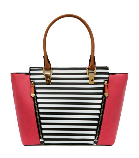 Pink Stripe Print Panel Zip Front Tote Bag | New Look
