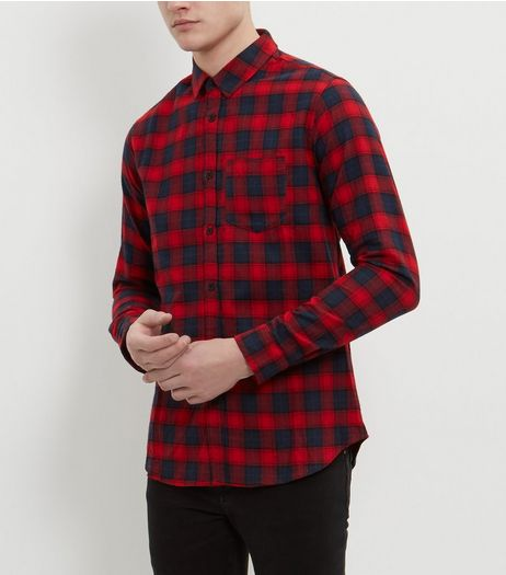 Navy and Red Long Sleeve Check Shirt  | New Look