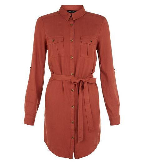 Rust Double Pocket 3/4 Sleeve Shirt Dress  | New Look