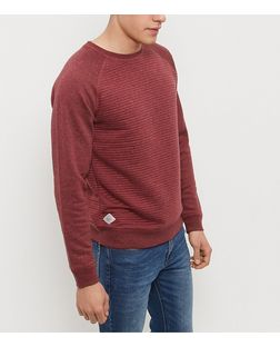 Threadbare Burgundy Red Textured Rib Knit Crew Neck Sweater  | New Look